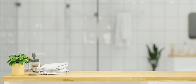 Empty wooden tabletop with mockup space for montage over blur bathroom background 3d rendering