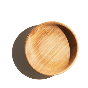 Empty wooden textured cup bowl isolated on white wall top view with shadow.