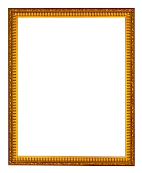 Empty wooden vintage frame isolated on white