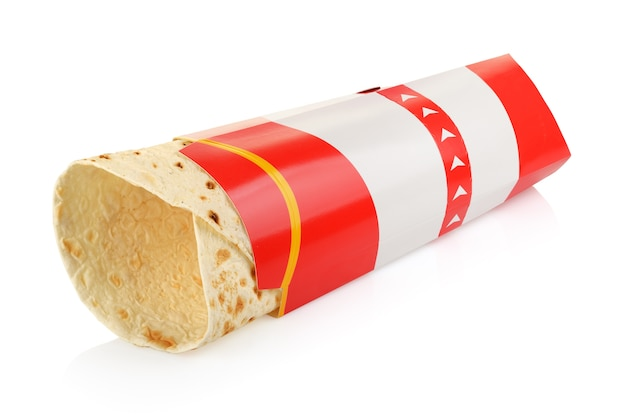 Empty wrap sandwich in cardboard box package isolated on white background with clipping path