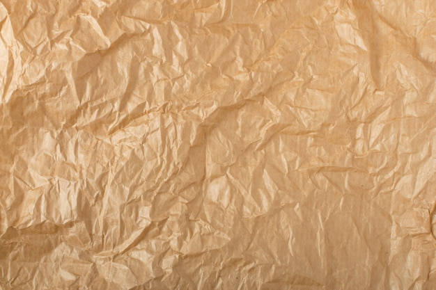 Empty wrinkled sheet of brown wrapping old paper texture with place for text