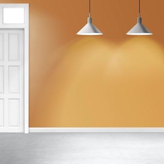 천장 램프가 있는 빈 노란색 방 인테리어 디자인