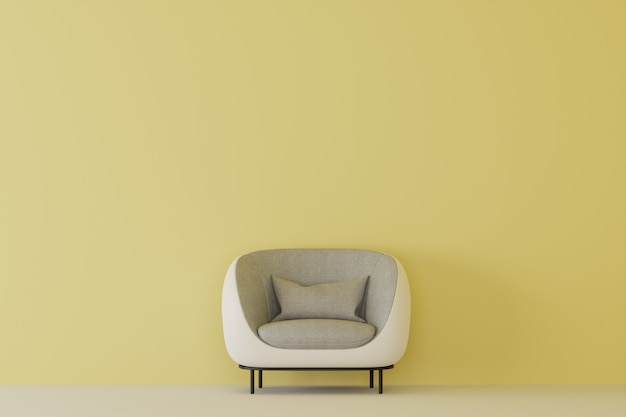 Empty yellow room with white sofa. 3d rendering.