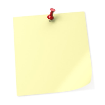 赤の押しピンが付いた空の黄色の付箋。 3dレンダリング