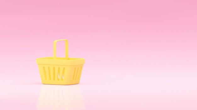 빈 노란색 슈퍼마켓 바구니