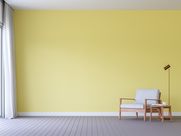Пустая желтая стена с серым дощатым полом гостиной 3d-рендеринга с деревянным стулом в современном стиле