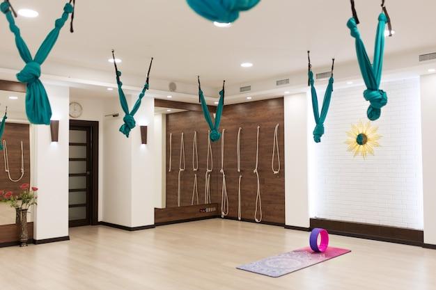 Empty yoga and fitness gym. sport playground interrior
