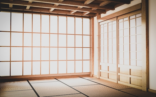 Empty yoga room inteior with tatami mat floor.3d rendering