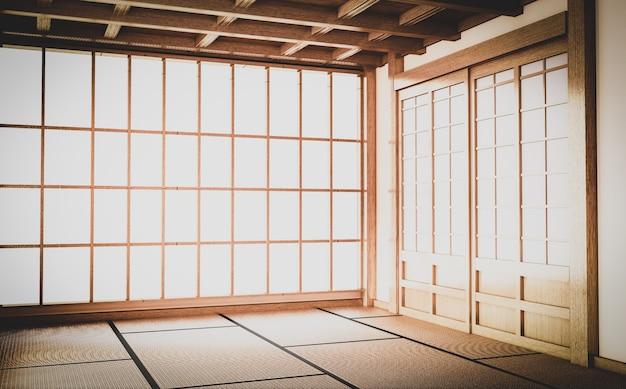 Empty yoga room inteior with tatami mat floor.3d rendering