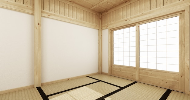 Empty yoga room inteior with tatami mat floor