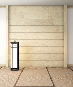 Empty zen room very japanese with lamp and tatami mat floor, wall wooden. 3d rendering