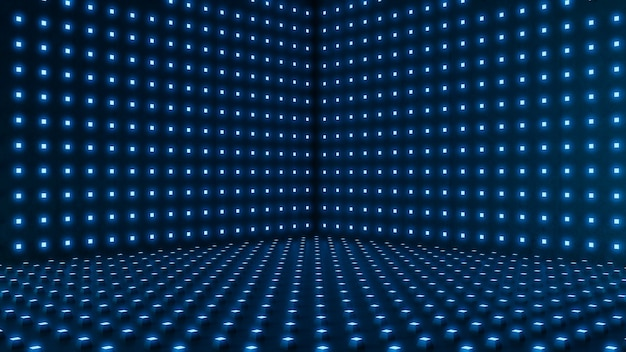 空の部屋、labstract青い照明ドットの背景。