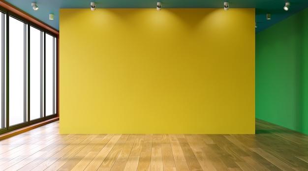 リビングルームのインテリア3dレンダリングの空っぽの色の壁