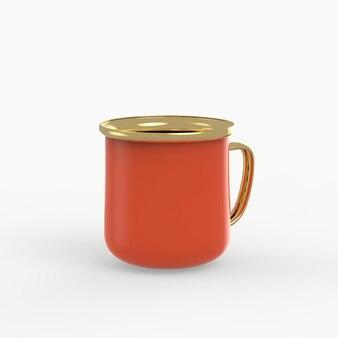Enamel metal mug on white space