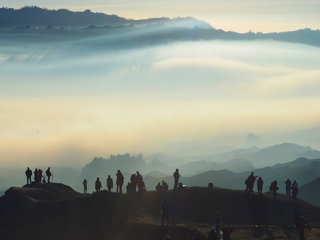 Enchanting view of bromo tengger semeru park in a foggy morning seen from mount bromo