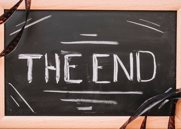 The end lettering in a blackboard