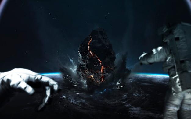 Конец земли. апокалипсис, астероид взрывает планету. метеоритный дождь. элементы этого изображения, предоставленные наса