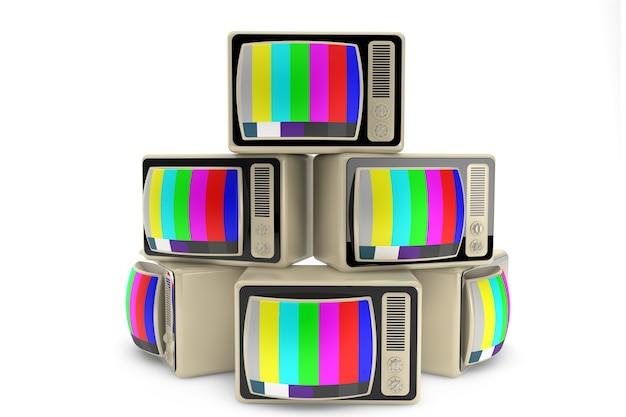 Конец телевизионной концепции. куча старинных телевизоров на белом фоне