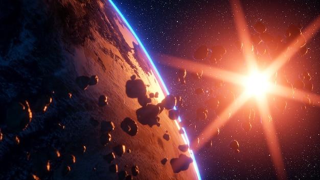 世界の終わり地球を襲う巨大な流星
