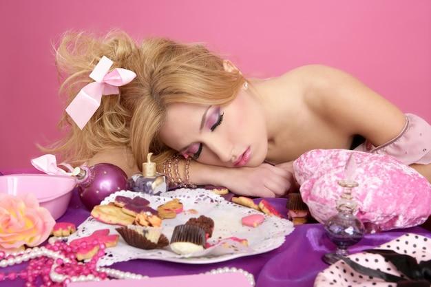 End party pink princess barbie fashion woman sleeping