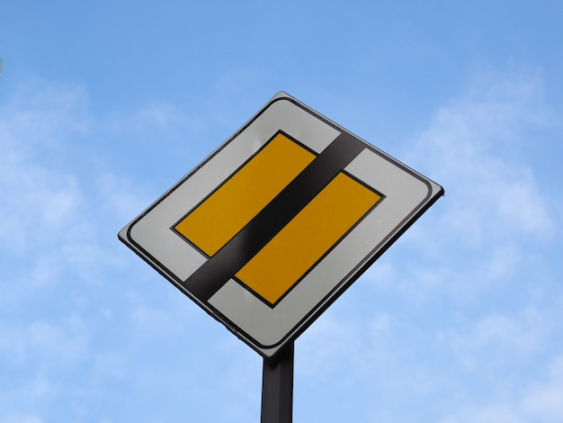 End of priority road sign
