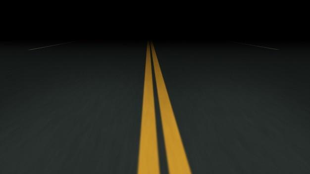 Endless asphalt road at night