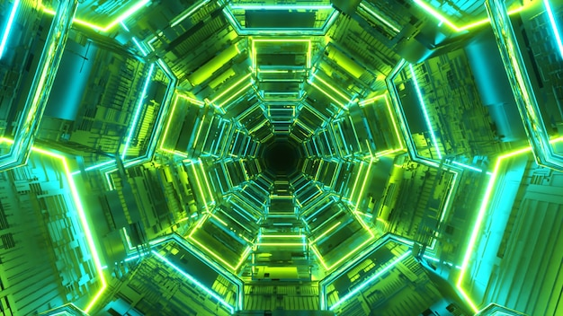 Endless corridor of the future. spaceship. neon lighting. flying in the tunnel.
