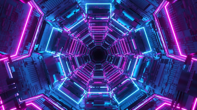 未来の果てしない回廊。宇宙船。ネオン照明。トンネルを飛んでいます。 3dイラスト
