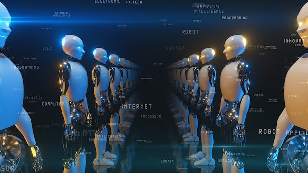 An endless corridor of robots facing each other