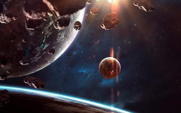 何十億もの星や惑星が存在する無限の宇宙風景。 nasaによって提供されたこの画像の要素