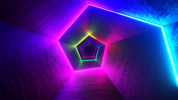 Endless flight in the corridor with a laser neon curve. multicolored 3d illustration