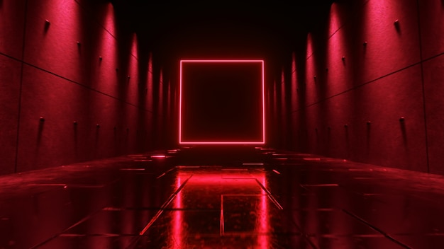 Endless flight in a futuristic dark corridor with neon lighting. a bright neon square in front.