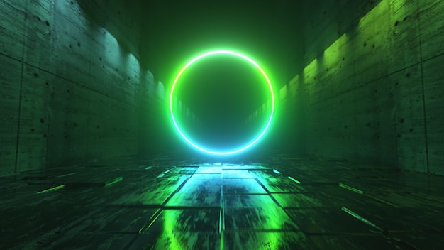 ネオン照明のある未来的な暗い廊下での無限の飛行。目の前に明るいネオンサークル。