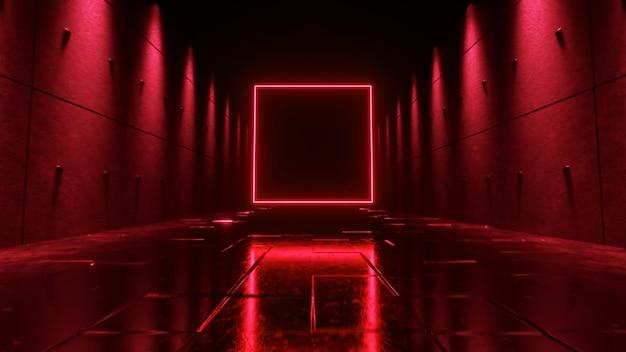 ネオン照明のある未来的な暗い廊下での無限の飛行。正面に明るいネオンの広場。