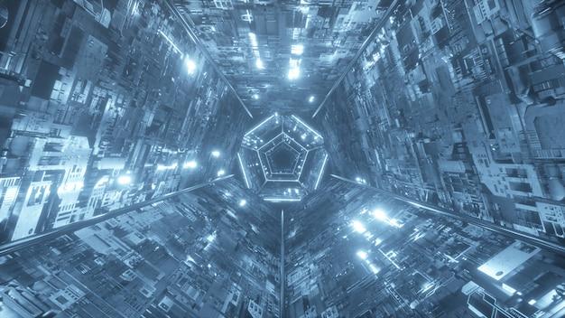 未来の技術的なデジタルネオントンネル内の無限の飛行。冷たい照明。 3 dイラスト