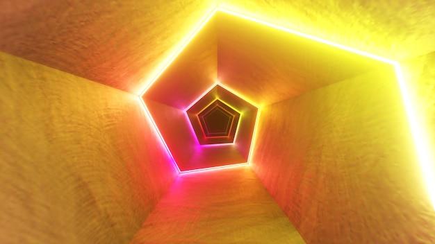 レーザーネオンカーブを備えた廊下での無限の飛行。現代の紫外線照明。 3dイラスト