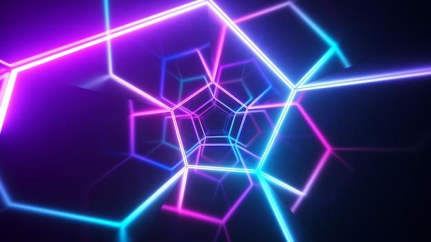 레이저 네온 곡선으로 복도에서 끝없는 비행. 현대 자외선 조명. 파란색 보라색 광 스펙트럼. 3d 그림