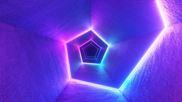レーザーネオンカーブを備えた廊下での無限の飛行。現代の紫外線照明。青紫色の光スペクトル。 3dイラスト