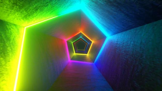 レーザーネオンカーブを備えた廊下での無限の飛行。色とりどりの3dイラスト