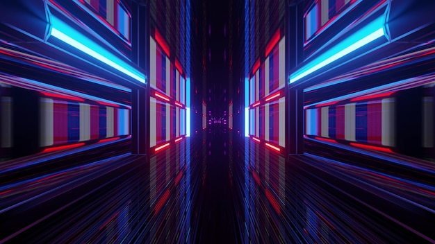 Endless futuristic corridor with blue and red neon illumination as 4k uhd 3d illustration