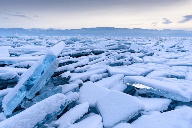 Endless hummock field on the frozen lake baikal