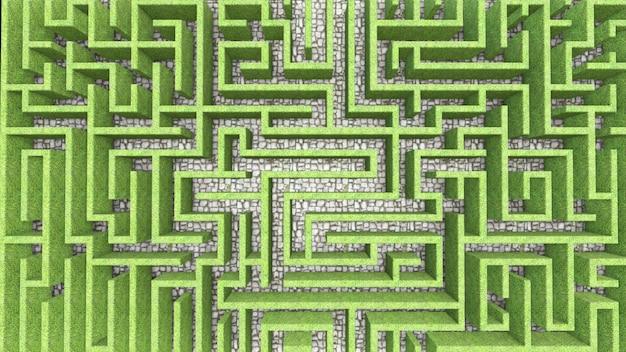 Бесконечный лабиринт с зелеными стенами