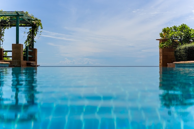 Endless swimming pool with blue sky background natural landscape.