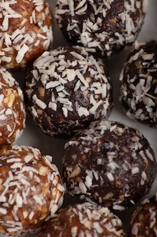 Energy balls table, close up