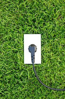 Energy concept outlet in  fresh spring green grass
