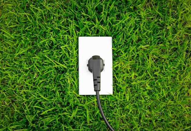 신선한 봄 녹색 잔디에서 에너지 개념 콘센트