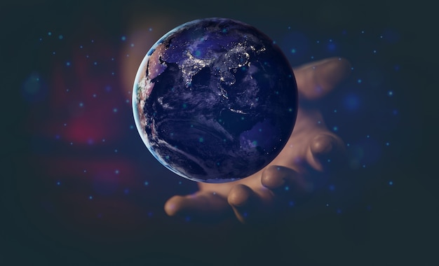 Energy and ecology concept, human hand holding flying earth