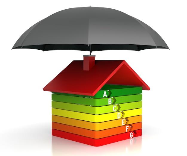 График энергоэффективности со страховкой. 3d-рендеринг