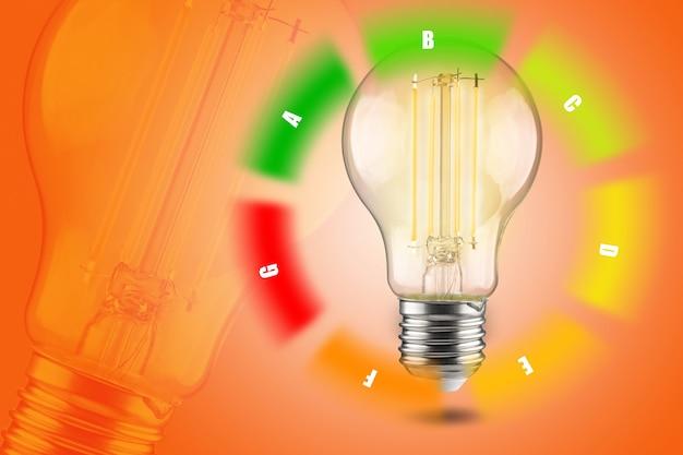Led 램프의 에너지 효율 개념입니다. 전력 소비 감소. 환경 개선.