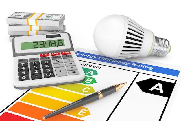 흰색 배경에 led 전구가 있는 에너지 효율 등급